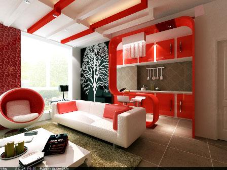 红色现代简约婚房装修效果图欣赏